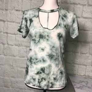 NWT Tie Dye Cut Out choker neck shirt small